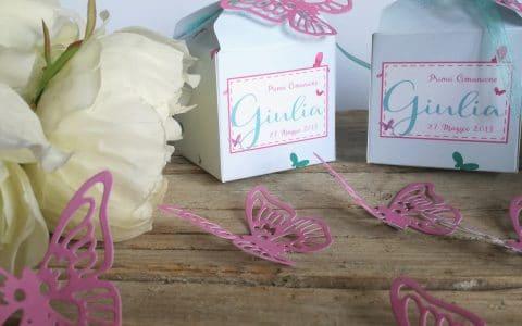 bomboniere con scatoline per prima comunione e farfalle
