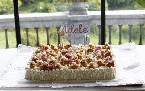 cake topper di carta personalizzato su torta battesimo bimba