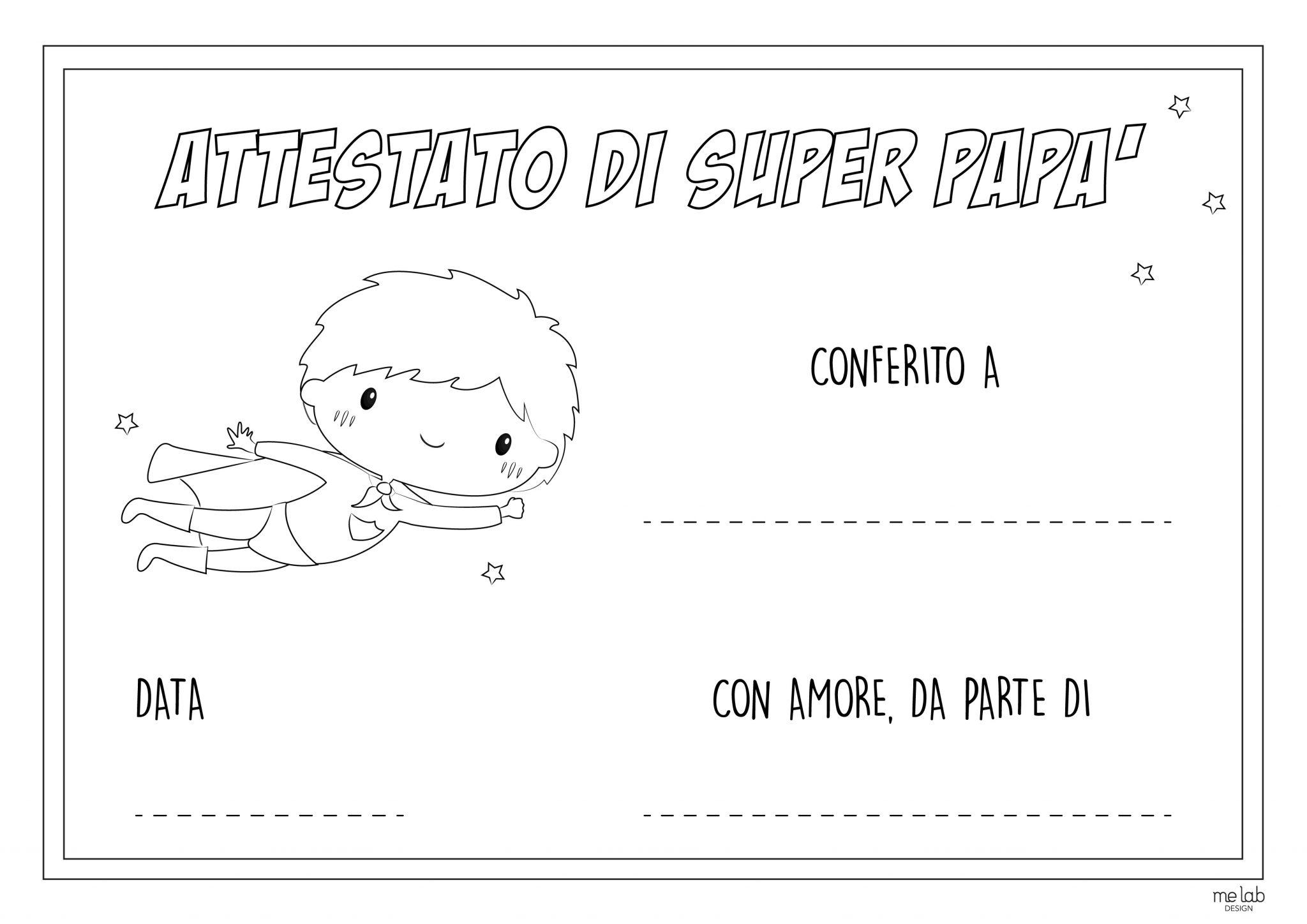 Attestato Super Papa Da Colorare Me Lab Design